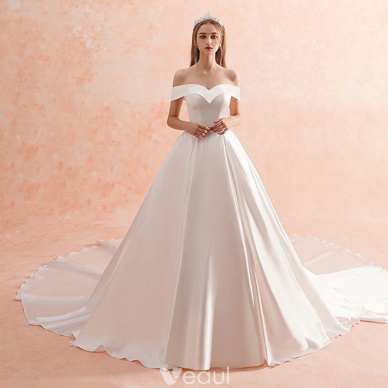 Simple Wedding Dress Europe: Modest / Simple Ivory Wedding Dresses 2019 A-Line