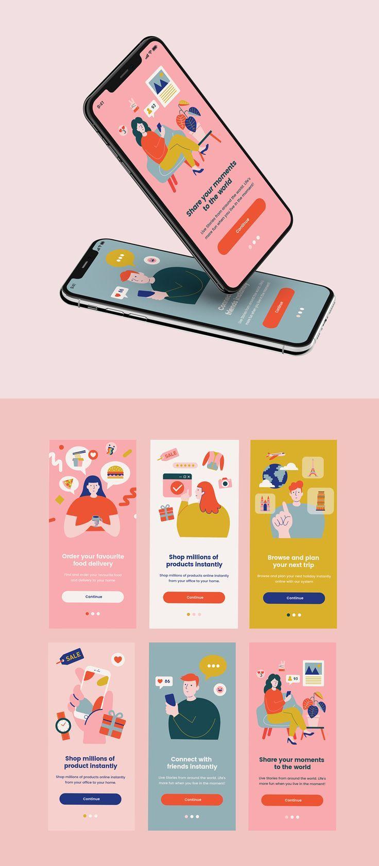 colorful modern illustrations for UI design #illustration #ui #ux
