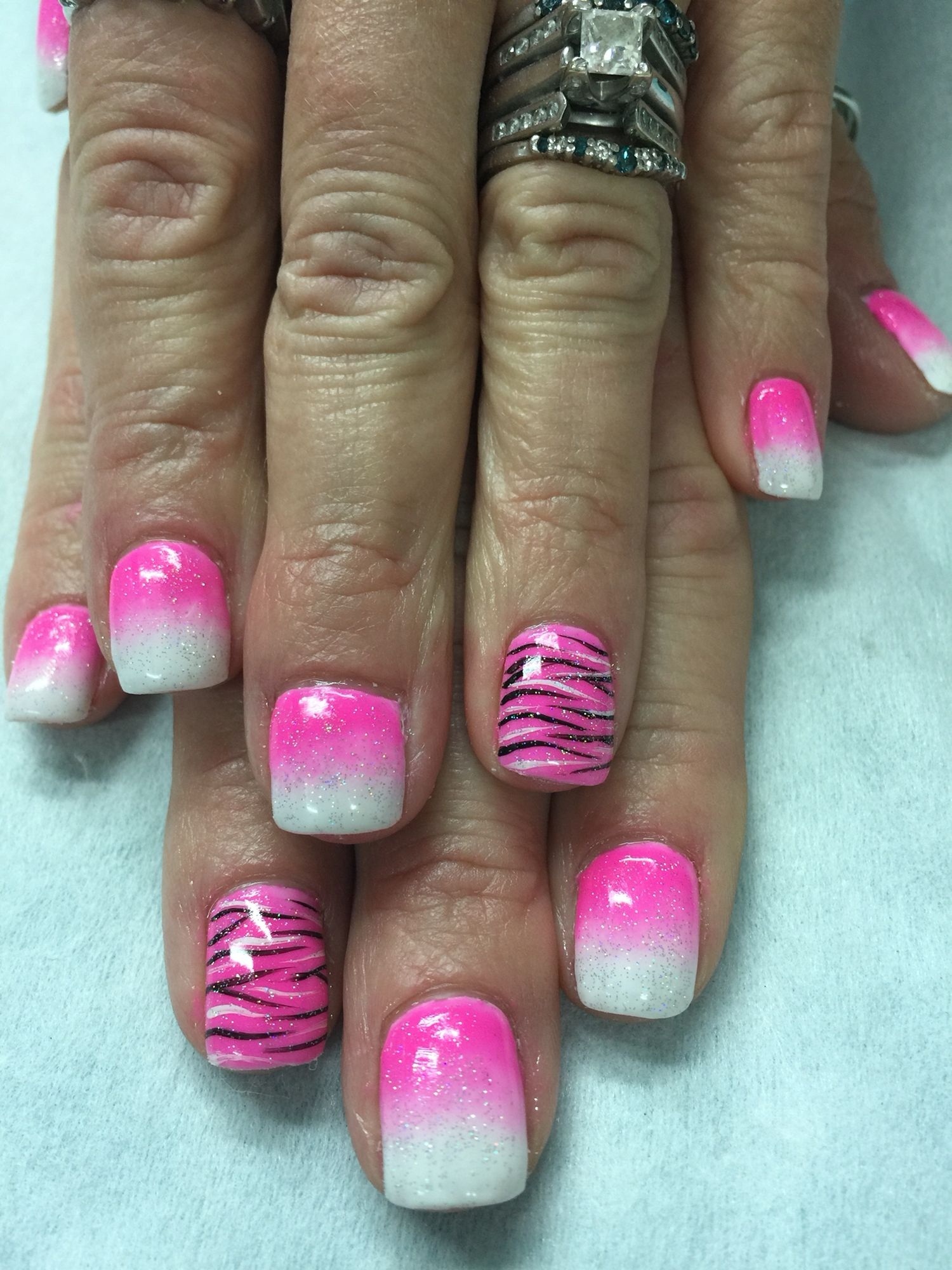 Pink & white ombre and zebra gel nails | Gel Nail designs | Pinterest