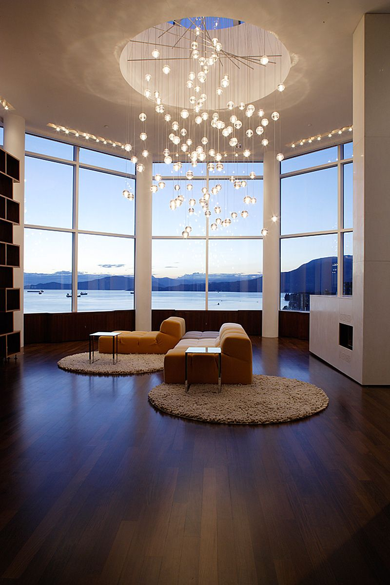 interior, beautiful living room concept in round layout feat