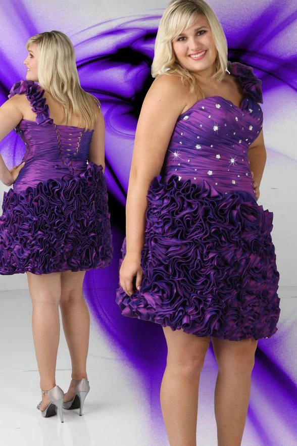 Ruffles Short One Shoulder Ruched V Neck Short Crystal Purple Plus ...
