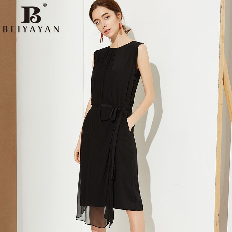 Mulberry Silk Dress With Sash Knee Length Black Office Dress