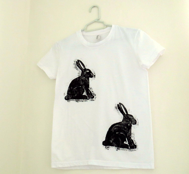 Hare print tshirt rabbit quirky black u white womens top hand