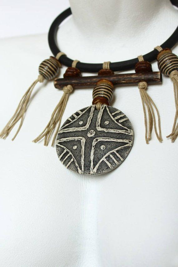Polymer Clay Jewelry Necklace Pendant Masai Round Totem Amulet Boho Ethnic Tribal African Style Polymer Clay Jewelry Necklace
