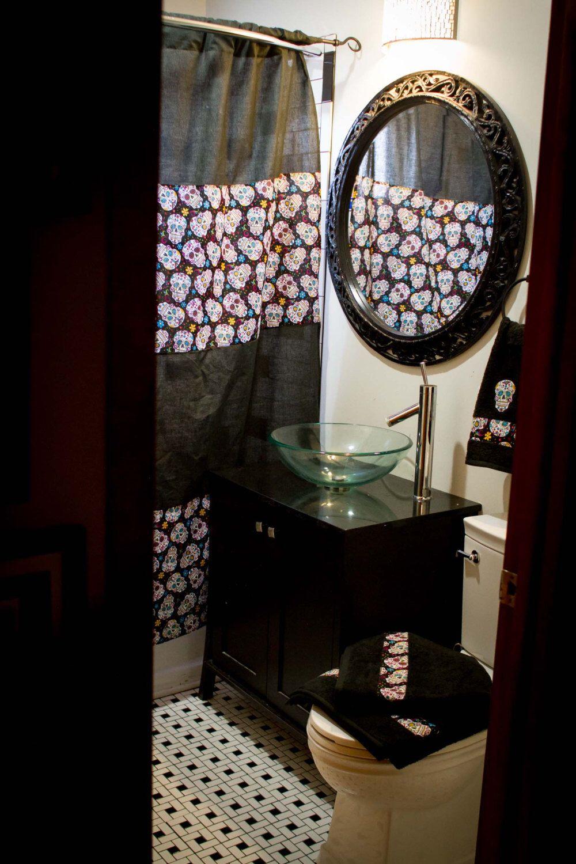 Pin By Brittany Hale On Everything Sugar Skull Diy Bathroom Decor Decor Custom Shower Curtains
