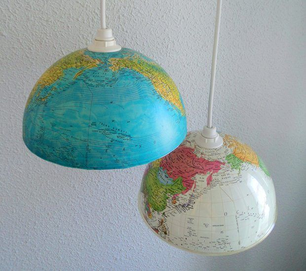 Upcycled Lamps And Lighting Ideas: Upcycled Old World Globe Diy Repurposed Indoor Hanging