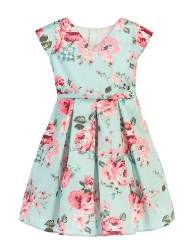 b4f21fc170bf Sweet Kids Little Girl's Floral Print Crossover Easter Dress, Light Green
