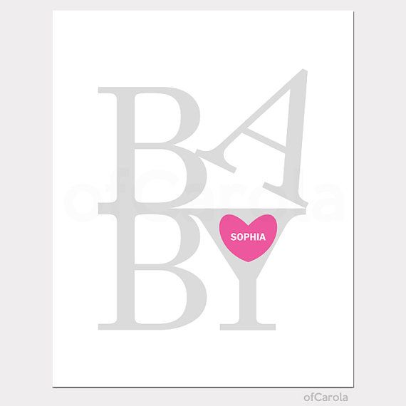 Baby Wall Art Name Print PERSONALIZED Gray Hot Pink by ofCarola, $15.00