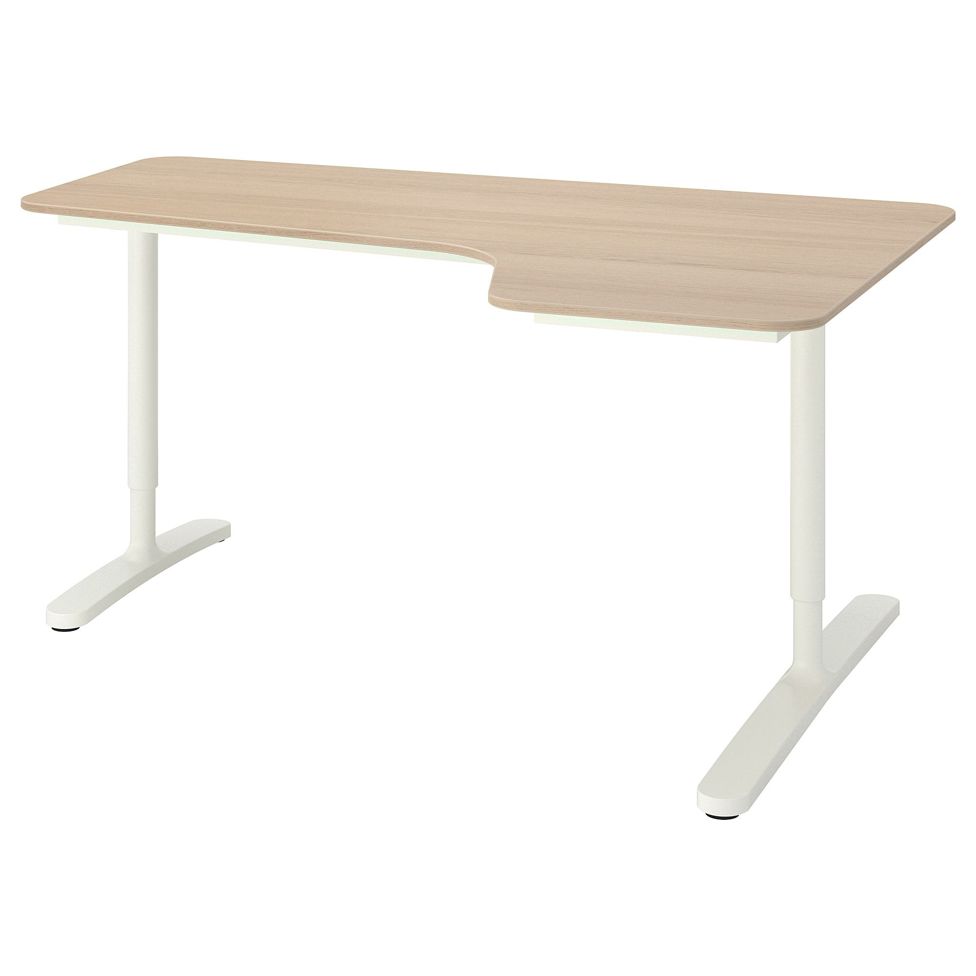 Ikea Bekant White Stained Oak Veneer White Corner Desk Right Ikea Ikea Bekant White Stain