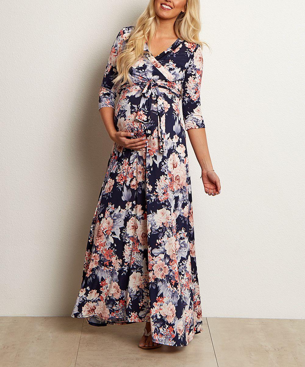 e43f8e97fea PinkBlush Navy Blue Floral Surplice Maternity Nursing Maxi Dress ...