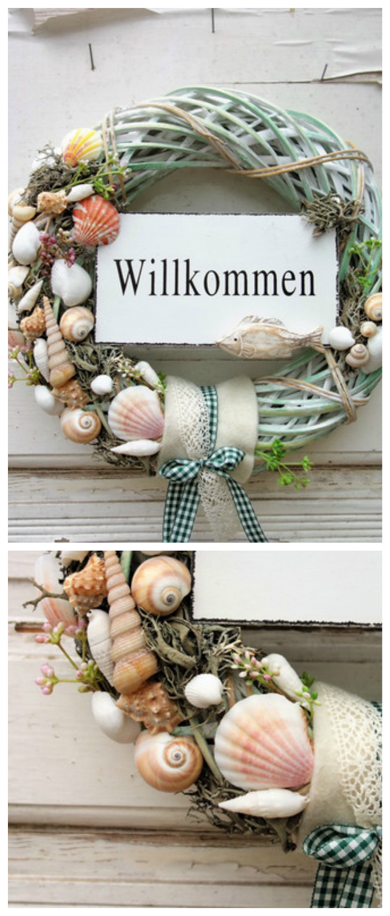 Photo of Türkranz im maritimen Stil mit Muscheln und Willkommensschild / maritime wreath…