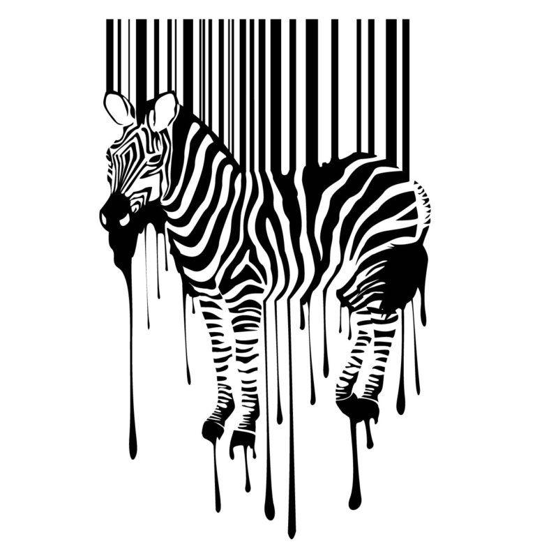 Zebra bar code wall sticker decal transfer stencil quirky artwork barcode ebay