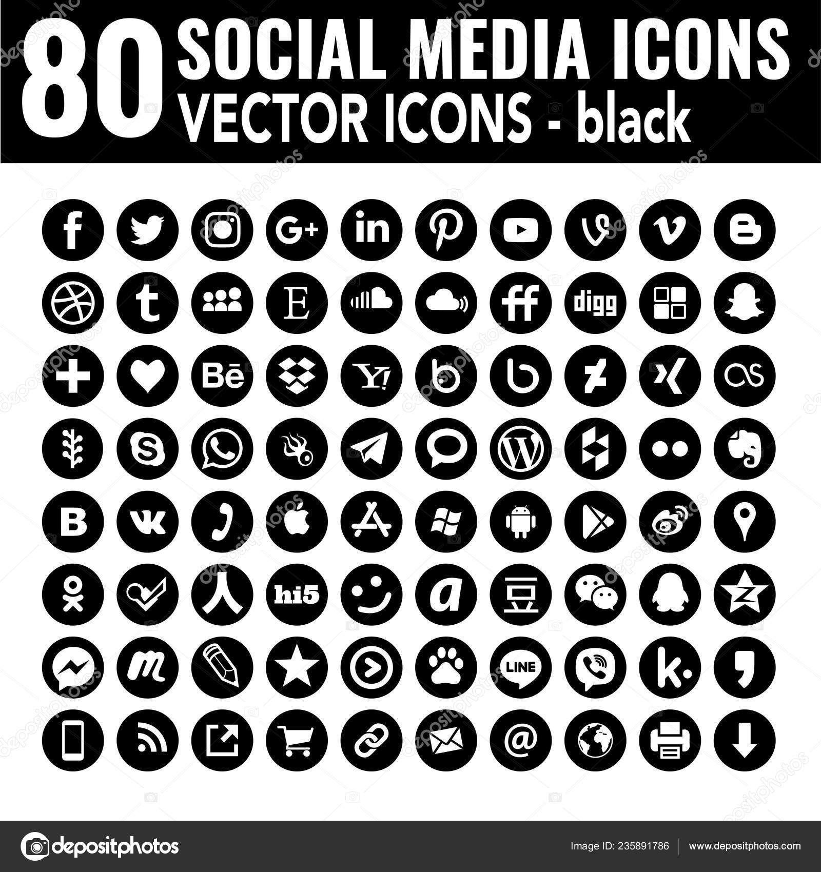 80 Round Social Media Icons Vector Black Social Media Icons Vector Social Media Icons Media Icon