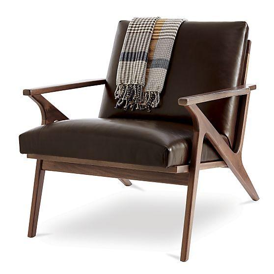Cavett Leather Wood Frame Chair  Living Room Furnishings