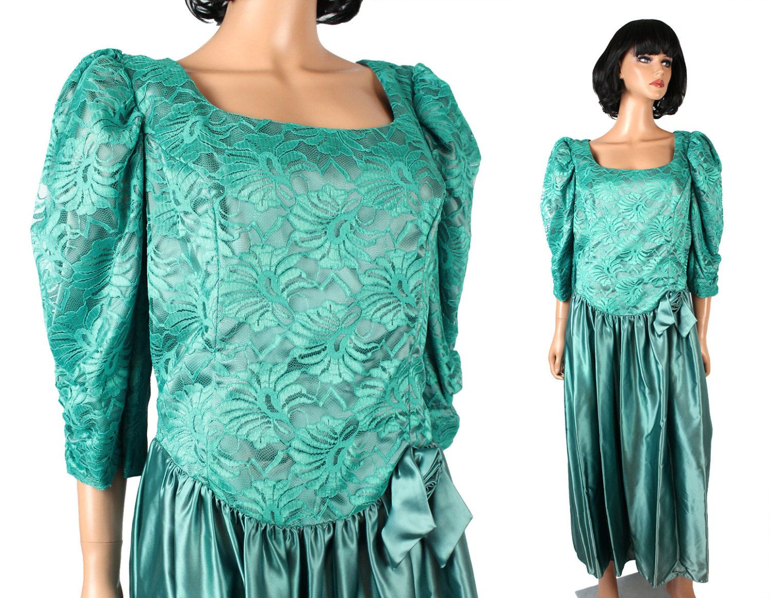 80s Prom Dress 2X XXL 20 Teal Sage Green Lace Satin Gown Costume ...