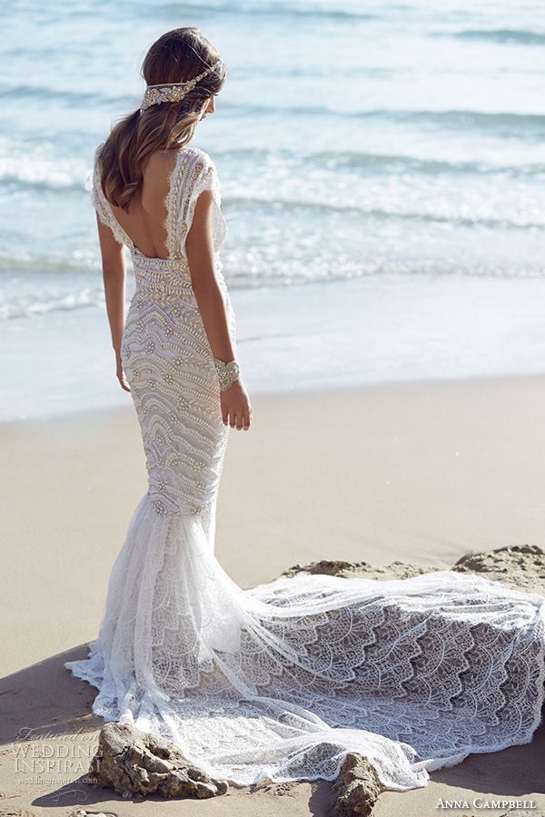 b692cd80e124 anna campbell 2015 bridal dresse cap sleeves scoop neckline beaded bodice  stunning fit to flare mermaid wedding dress coco back view -- Anna Campbell  ...