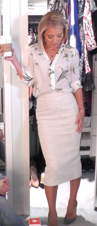 Kelly Ripa in a Maje top and ALC Metallic pencil skirt