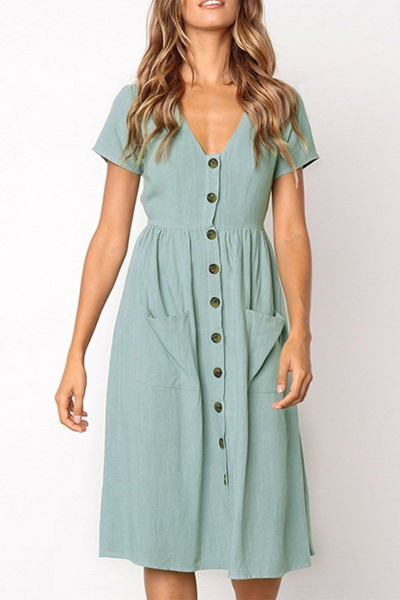 ca2d2d9a49 Boosouly Women's Summer Short Sleeve V Neck Button Down Casual Midi Dress  with Pockets at Amazon Women's Clothing store: