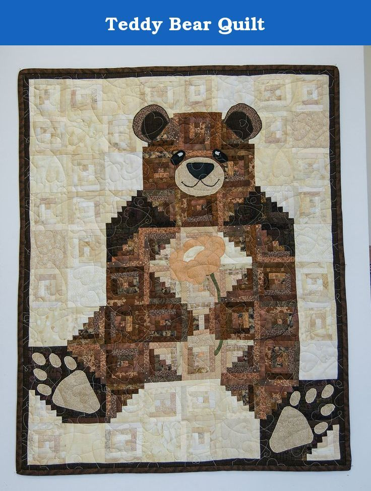 Teddy Bear Quilt Made Entirely Of 100 Cotton Fabrics Batting And Flannel Backing Over 1200 Pieces Of 1 Wide Fabrics Are Bear Quilts Bed Quilt Cover Quilts