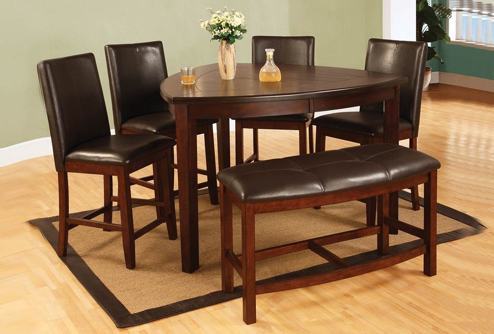 BQ 6 Pc Dark Cherry Finish Wood Rounded Triangular Shaped Design Counter Height Dining Table Set With Plank Look Top And Bench