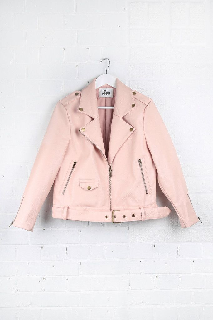 Leather Biker Jacket Pink - THE WHITE PEPPER http://www.thewhitepepper.com/collections/coats-jackets/products/leather-biker-jacket-pink