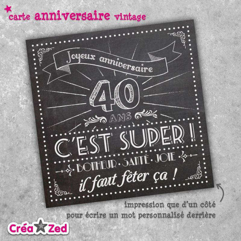 carte invitation anniversaire 40 ans gratuite imprimer. Black Bedroom Furniture Sets. Home Design Ideas
