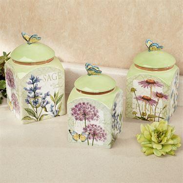 Herb Garden Kitchen Canister Set Ivory Set Of Three