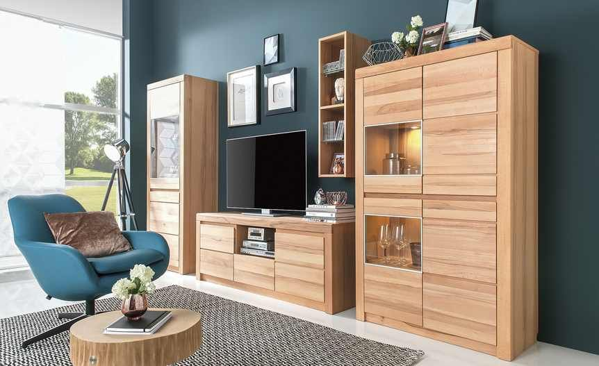 teilmassive Wohnwand montiert Porto | Höffner, Wohnzimmerschränke ...