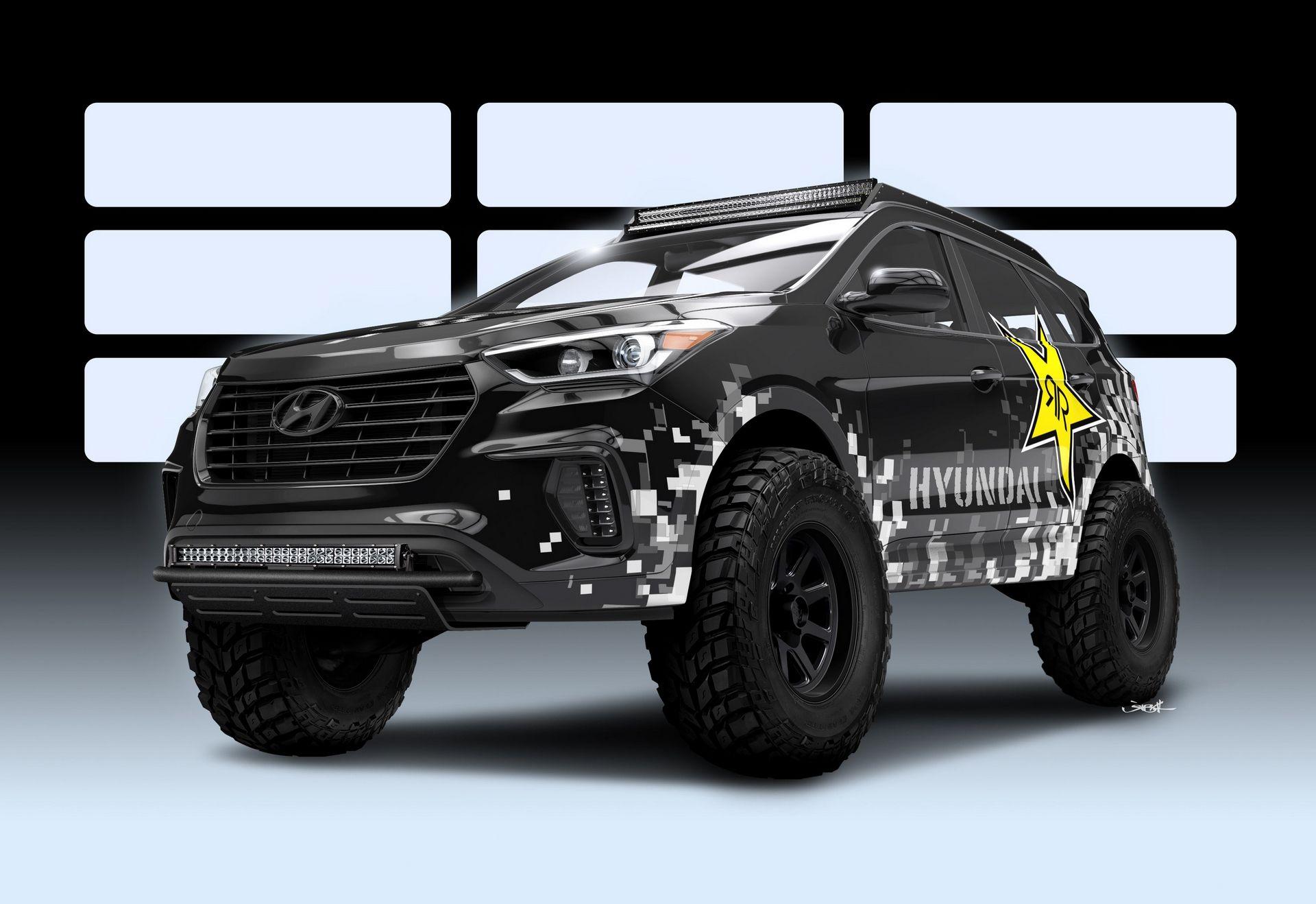 Hyundai Motor America And Rockstar Performance Garage Have Partnered To Develop A Nitrous Powered Santa Fe Cuv Capable Of Ser Hyundai Santa Fe Hyundai Santa Fe