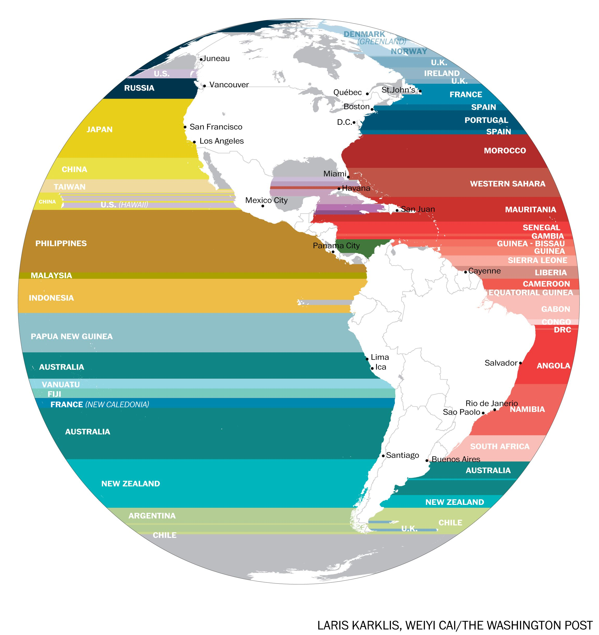 What S Across The Ocean From You When You Re At The Beach In 7 Fascinating Maps Ocean Map North America Map