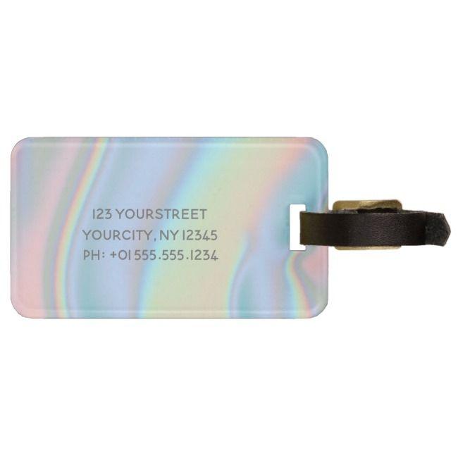 Modern Holographic Liquid Marble Bag Tag