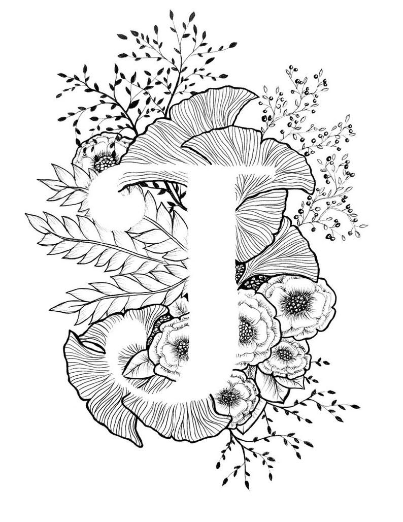 Letter J Print Alphabet Calligraphy Typography Monogram Flowers Black And White Ink Art Print In 2021 Ink Art Art Prints Drawings