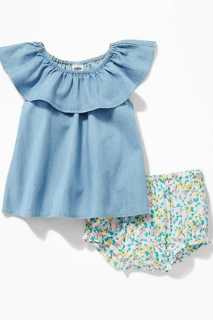 21d1eca3cd ... baby clothes at affordable prices. Ruffled Chambray Top and Floral  Bloomers. The chambray top is too cute!  ad  oldnavy  chambraytop   babygirlclothes