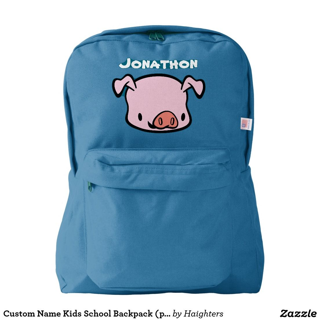 Kids School Backpack (pig). You can customize the name and color! It's a great gift for kids! Make their school days more fun.