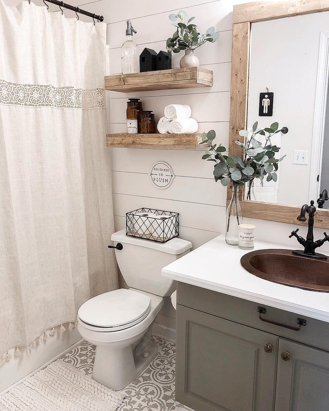 Copper Sink Bathroom Framed Bathroom Mirror Painted Bathroom Vanity Floating Shelves Wood Shel Small Bathroom Decor Small Bathroom Remodel Rustic Bathrooms