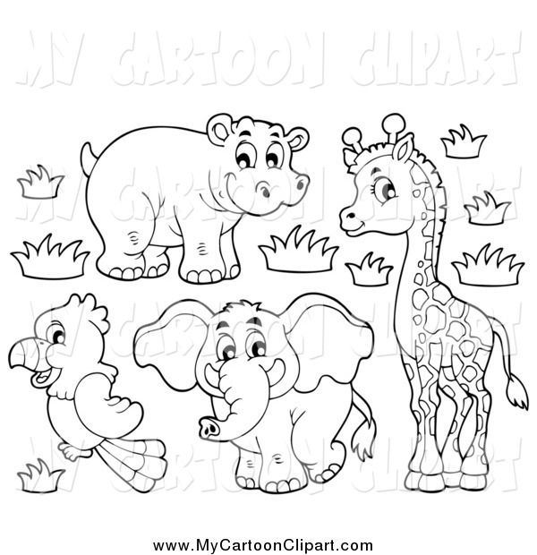 Clip Art Of A Black And White Cute African Hippo Giraffe Elephant And Parrot Coloring Books Cartoon Clip Art Cute Elephant Drawing