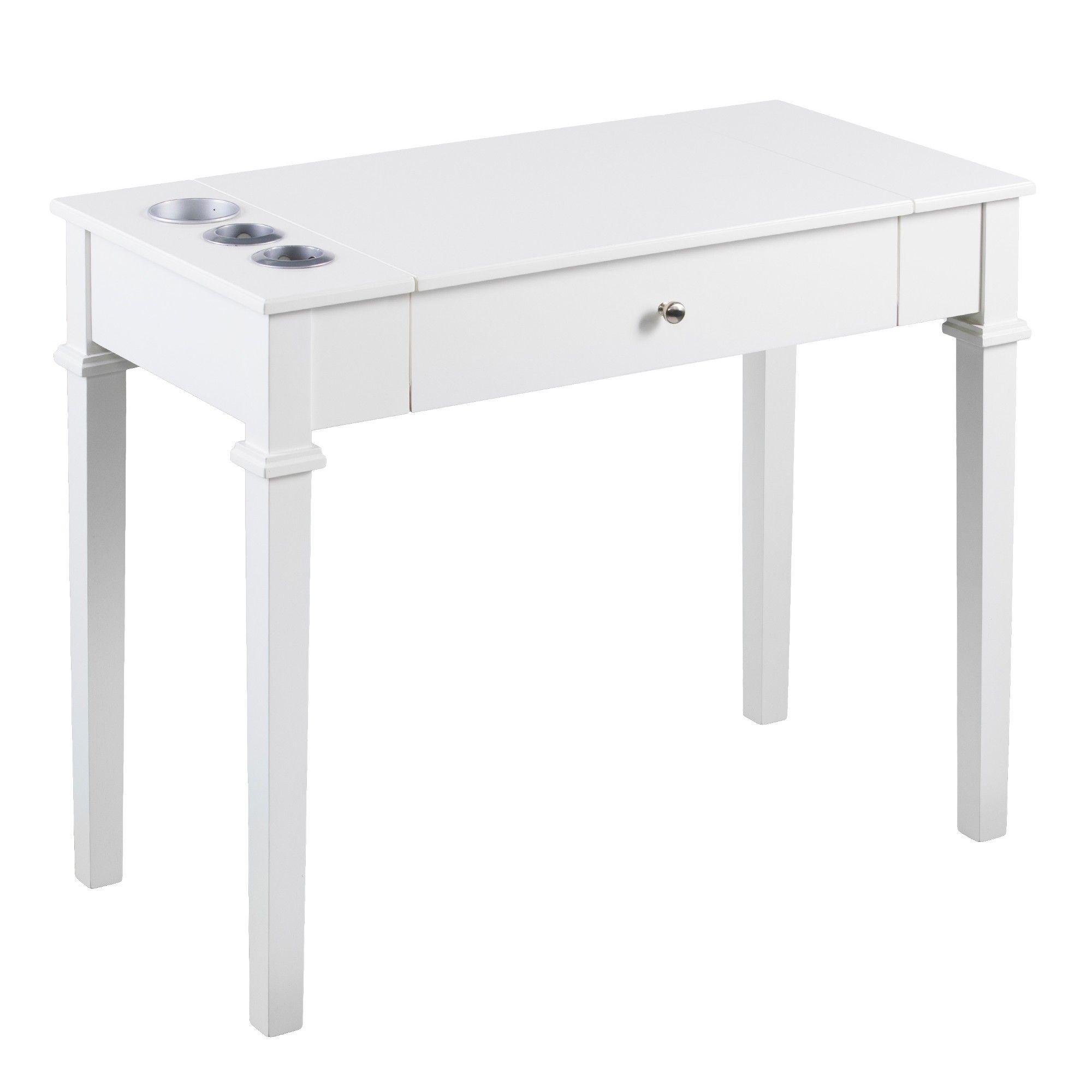 off white vanity table. Aiden Lane Rokubi Powered Vanity Desk With Stool Off White