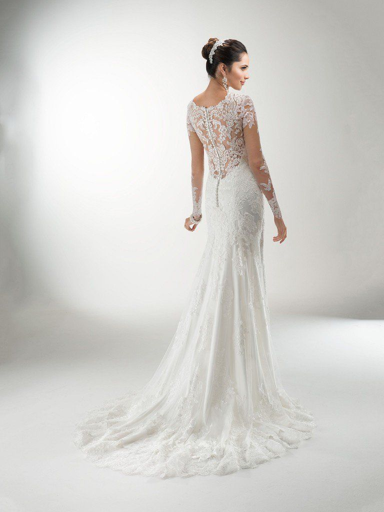 645b5a4cd7f9 Maggie Sottero - MELANIE MARIE, Delicate corded lace on tulle create the  illusion long sleeves and neckline of this lightweight gown with attached  Monroe ...