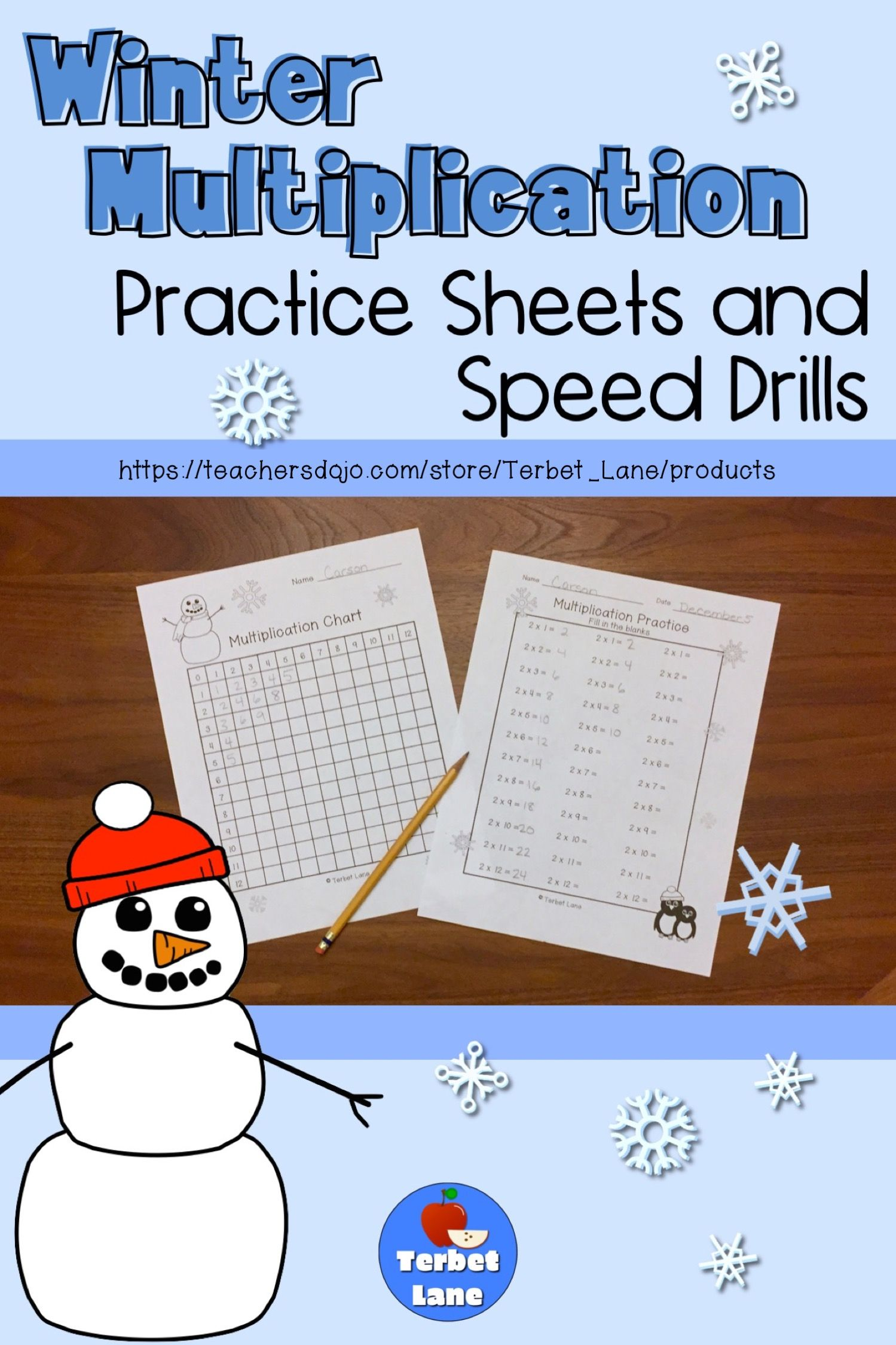 Winter Multiplication Worksheets And Speed Drills