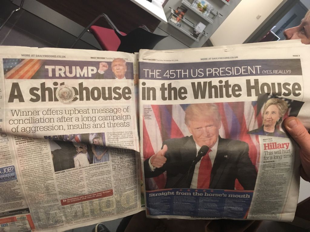 This is page 2 in Scotland's newspaper after Trump's election victory.