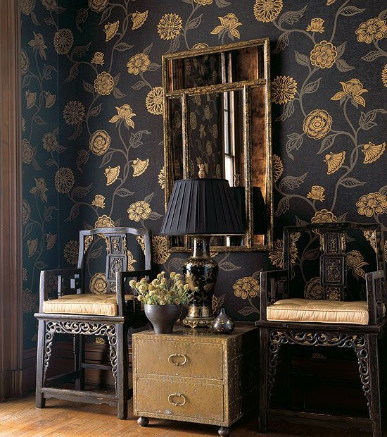 gold wallpaper chinoiserie (With images)   Chinoiserie ...
