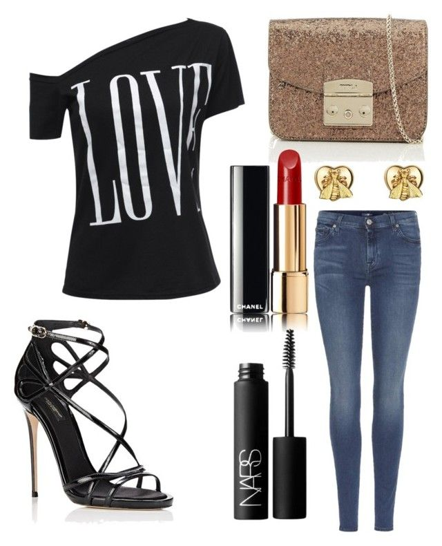 """Untitled #9828"" by ohnadine on Polyvore featuring Furla, 7 For All Mankind, Chanel, NARS Cosmetics, Gucci and Dolce&Gabbana"