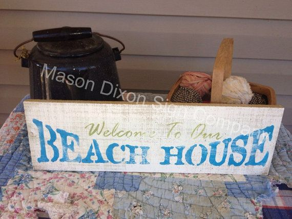 Primitive Wood Sign  Welcome To The Beach by PristinePrimitives, $7.99