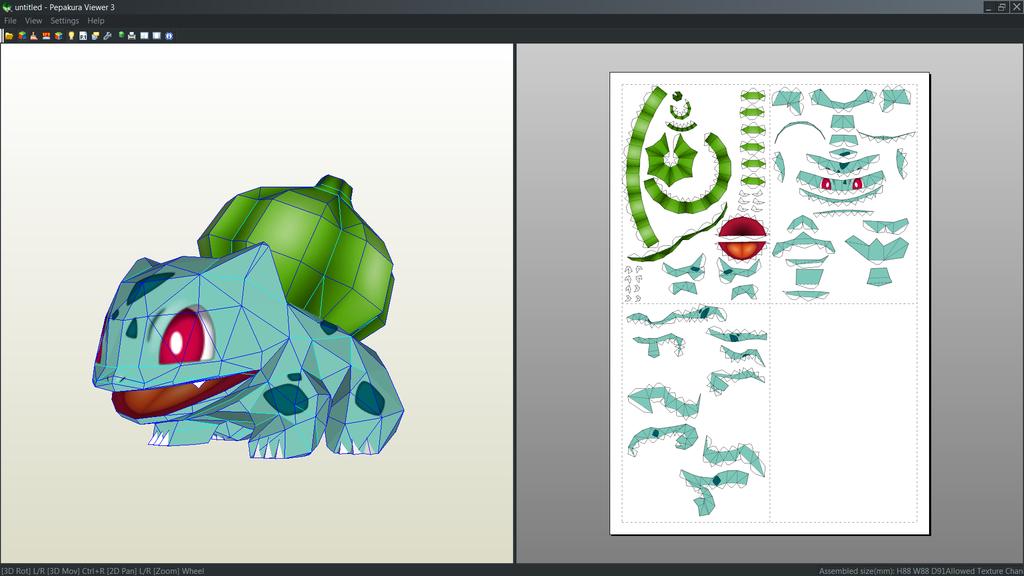 Bulbasaur Papercraft Unfold 2 By Antyyydeviantart On DeviantArt