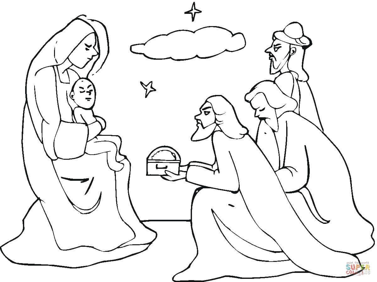Three Wise Men Came To See Jesus coloring page | Free ...