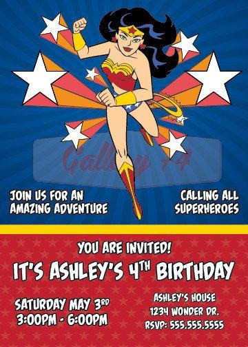 Printable Wonder Woman Birthday Party Invitation Plus Free Thank