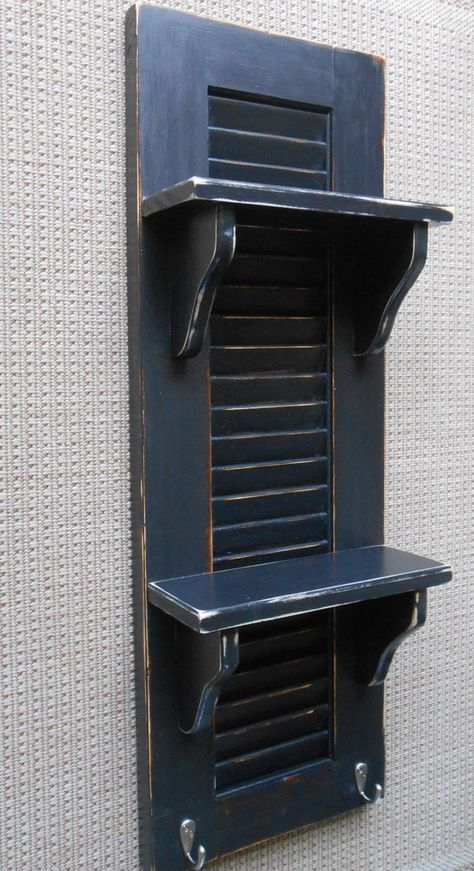 Shutter Shelf Black Shutter Shelf Preppy Shutter By Atticjoys1 With Images Shutters Repurposed Shutter Decor Vintage Shutters