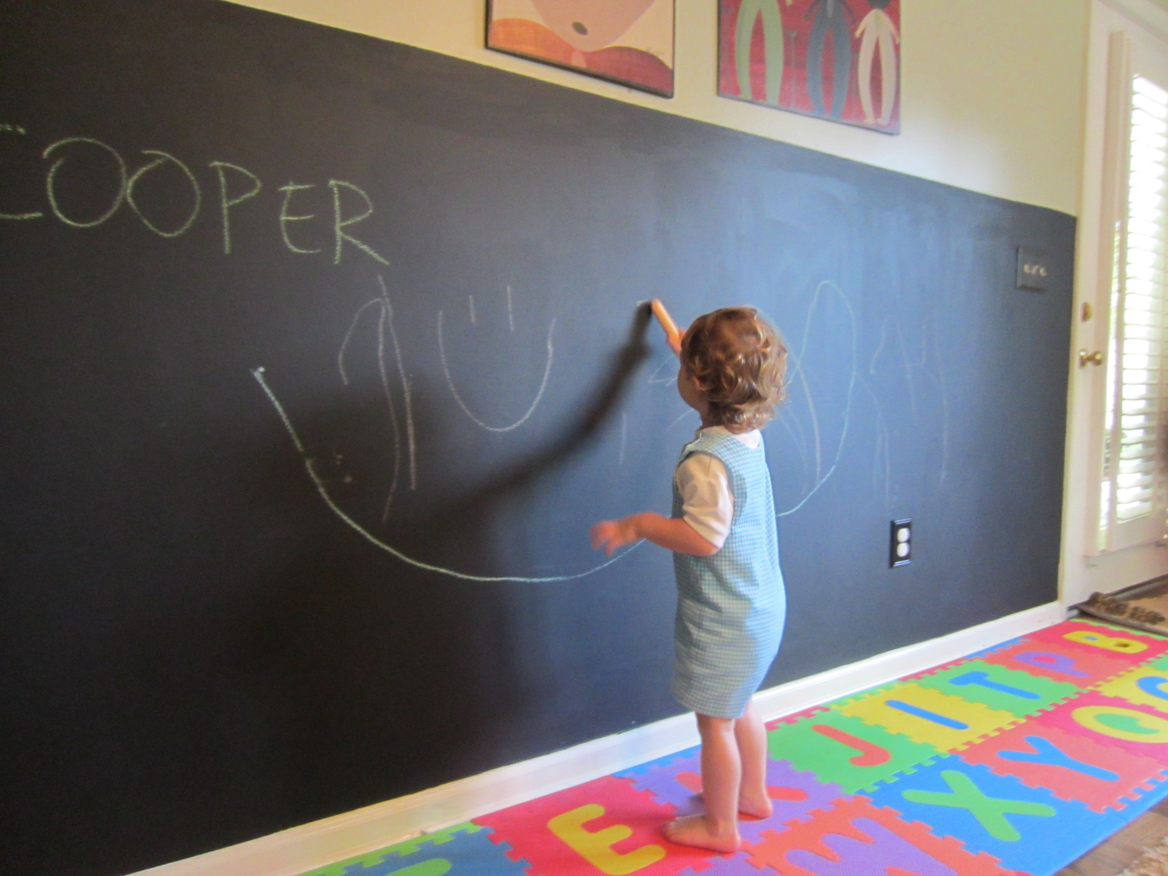 Chalkboard Wall In Playroom This Is Will In My Children