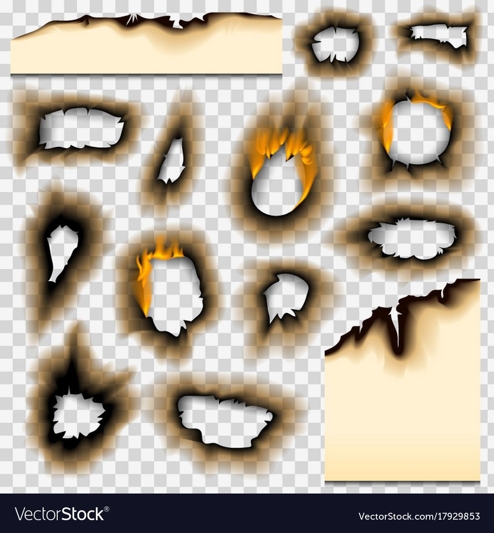 Collection Burnt Faded Holes Piece Burned Paper Fire Realistic Flame Isolated Vector Illustration Brown Gr Burnt Paper Paper Fire Graphic Design Business Card