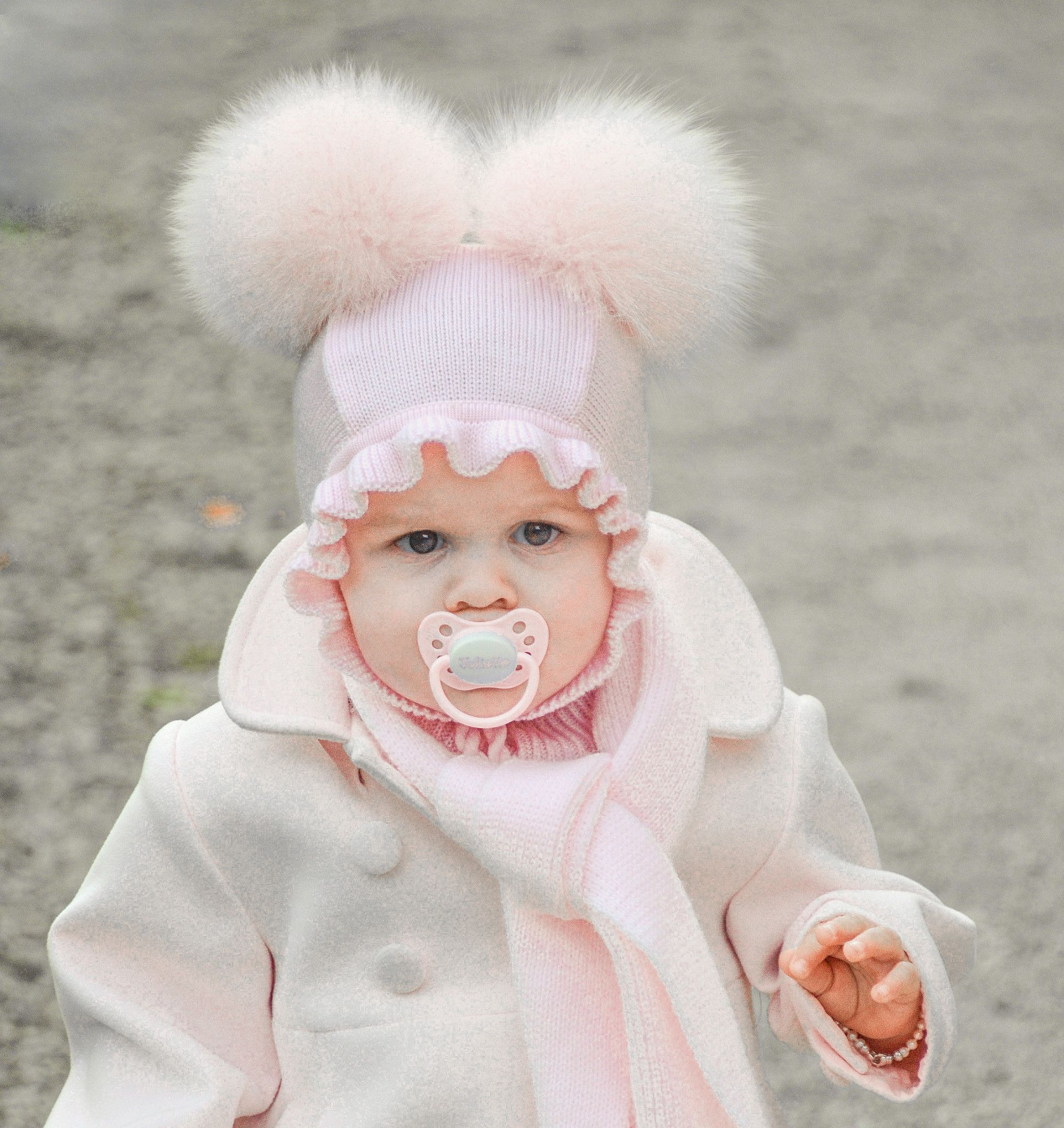 CATYA Baby Helmet Balaclava Hat with Two Fox Pompoms in Pink Rose ... 2e178961297